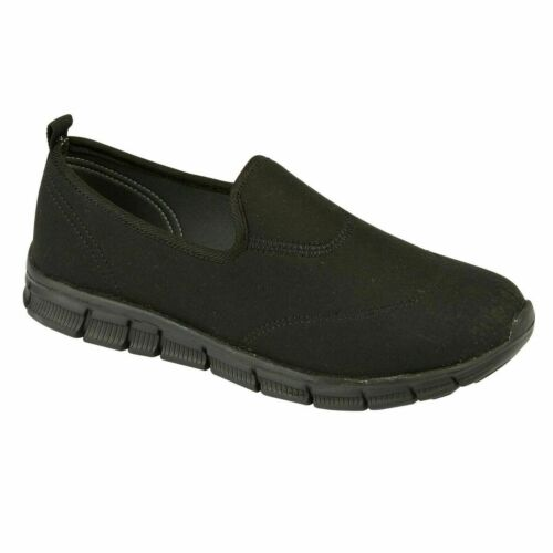 Ladies Textile Flat Trainers Sports Jogging Sneakers Slip On Women Shoes UK 4-8
