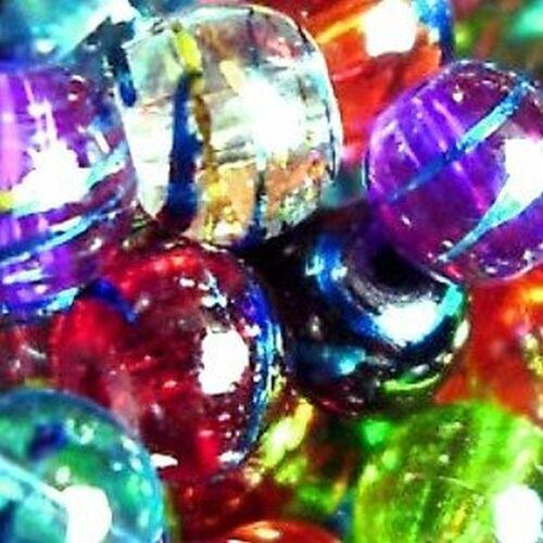 D0001 6mm 200 Pcs Mixed Drawbench Translucent Beads