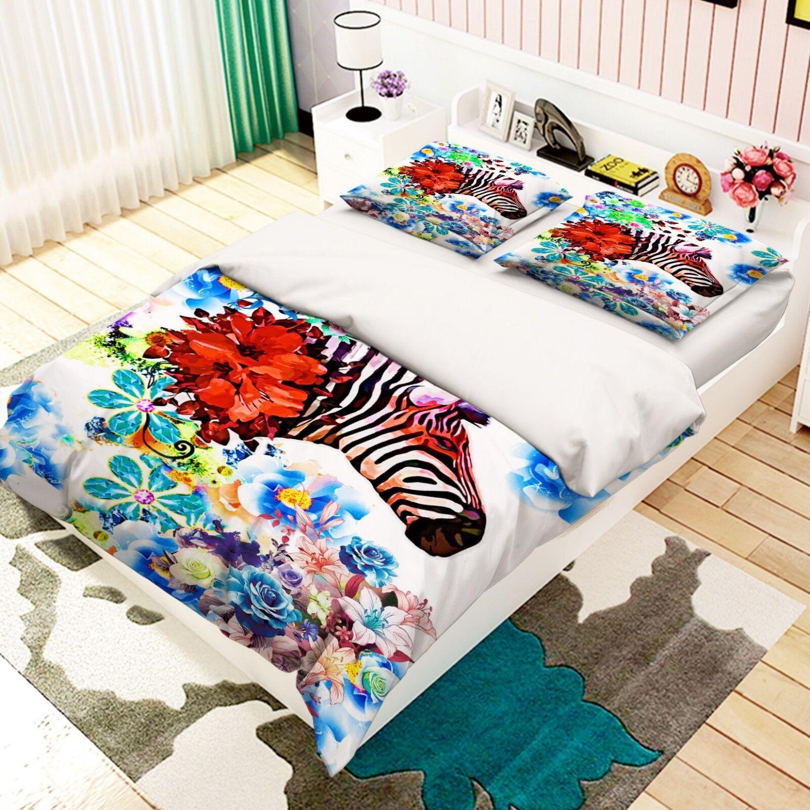 3D Flower Zebra 586 Bed Pillowcases Quilt Duvet Cover Set Single King UK Summer