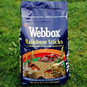 NEW-WEBBOX-RAINBOW-STICKS-FLOATING-KOI-amp-POND-FISH-FOOD-FEED-VITAMINS-5KG-10KG