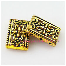 15Pcs Antiqued Gold 2-2 Holes Flower Spacer Bar Beads Charms Connector 12x17.5mm