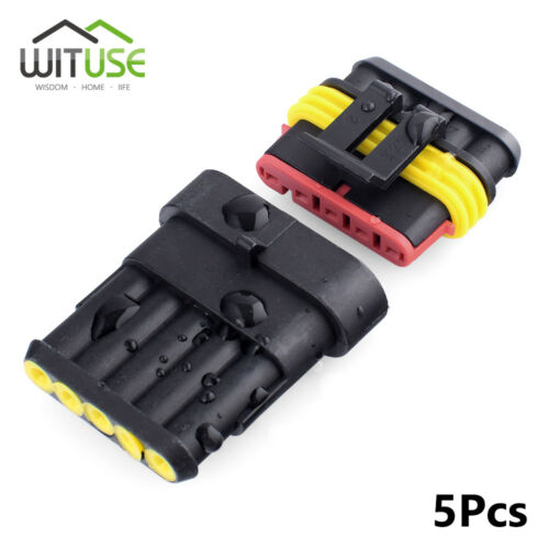 5 sets sealed 2//3//5 pin waterproof electrical wire motorcycle connector plug 0A
