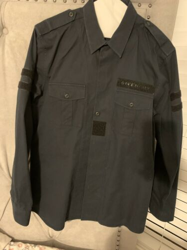 Rare Givenchy Blue Military Button Down Shirt Khak