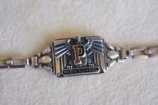 Antique Orange Black Enamel P Sterling Silver Eagle High School Class Bracelet