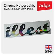 18.5CM Illest Etiqueta Engomada plata holograma Neo Cromo JDM Dub Dapper vinilo coche