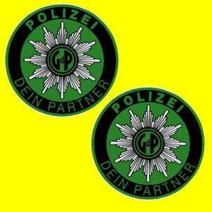 2-POLIZEI-GdP-AUFKLEBER-STICKER-INNENAUFKLEBER-POLIZEIAUFKLEBER-AUTOSTERN-AUTO