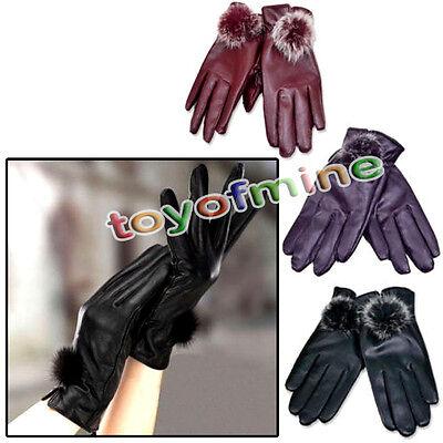 Fashion Women Girls Winter Soft Leather Mitten Gloves Warm Driving Gift HOT Sale