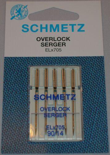 Schmetz Elx705 Nadeln Größe 14//90 für Covelock /& Overlock Maschinen Packung mit