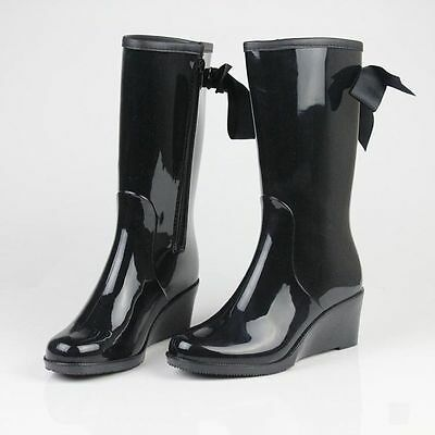 Fashion Womens Rain Boots Rubber 4 style Ladies Wellies Mid-Calf boot Heel Shoes
