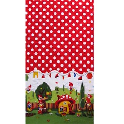 1m Gnomeville Red Michael Miller Fabric PER METRE Gnome Panel Retro Kitsch