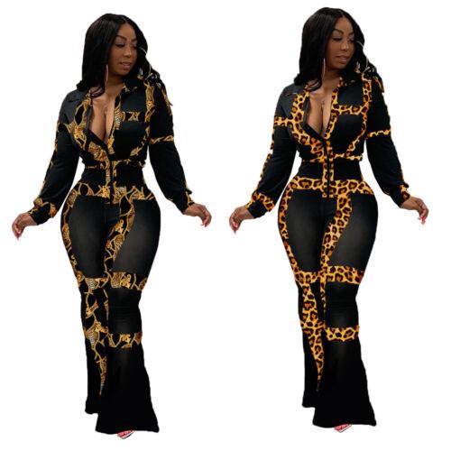 Women Printed Patchwork Long Sleeves Zipper Wide Leg Casual Club Jumpsuit 2pcs