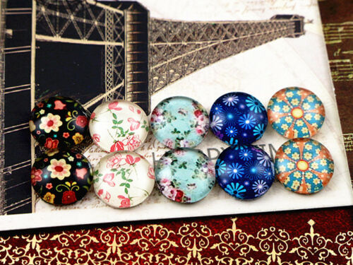 Pretty Florals Handmade Glass Cabochons Set12mm Round10pcs