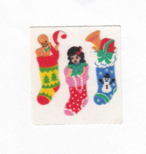Vintage Sandylion Fuzzy Christmas Holiday Stickers Bow Bear Santa You Choose