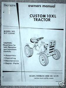 917 25061 sears custom 10xl tractor owners manual on cd ebay