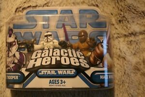 2008-Hasbro-Star-Wars-GALACTIC-HEROES-Clone-Trooper-Mace-Windu-Action-Figures