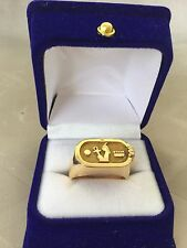 Stamped Unique Rare Egyptian Cartouche Solid Yellow 18K Gold Ring Size 9 Unisex