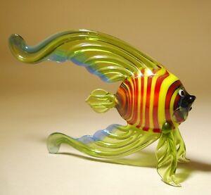 """Blown Glas """" Murano """" Kunst Figur Grün Gestreift Mit Blau Rand Angel Fisch Strengthening Sinews And Bones Toys & Hobbies Animals & Dinosaurs"""
