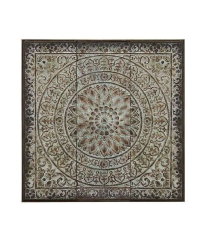 Large Old World Medallion Victorian Ceiling Tile Metal Wall Panel Plaque Artwork