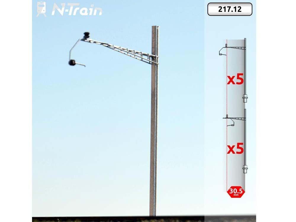 N-Train 217.12 - Oberleitung 10x SBB-H-Profil-Masten mit Gotthardtypischem Ausle