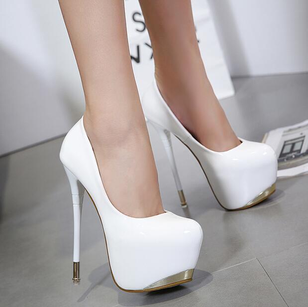 16CM Womens Super High Heel Tound Toe Pumps shoes Platform Stilettos Clubwear