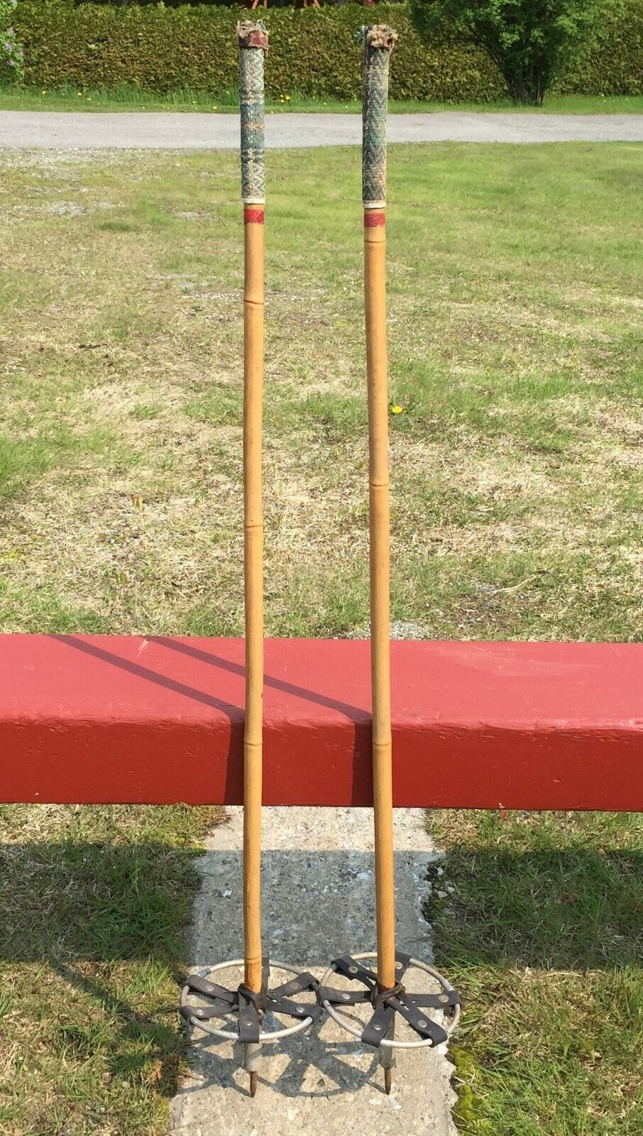 Old BAMBOO Ski POLES 42  SNOW SKIS w  LEATHER BASKETS