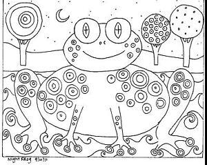 RUG-HOOKING-CRAFT-PAPER-PATTERN-Night-Frog-FOLK-ART-Karla-Gerard