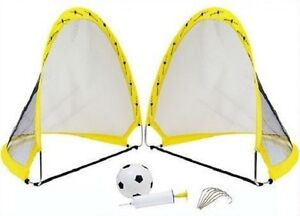 2 x instantanée popup portable football soccer buts filets, ballon, pompe & chevilles outdoor 							 							</span>