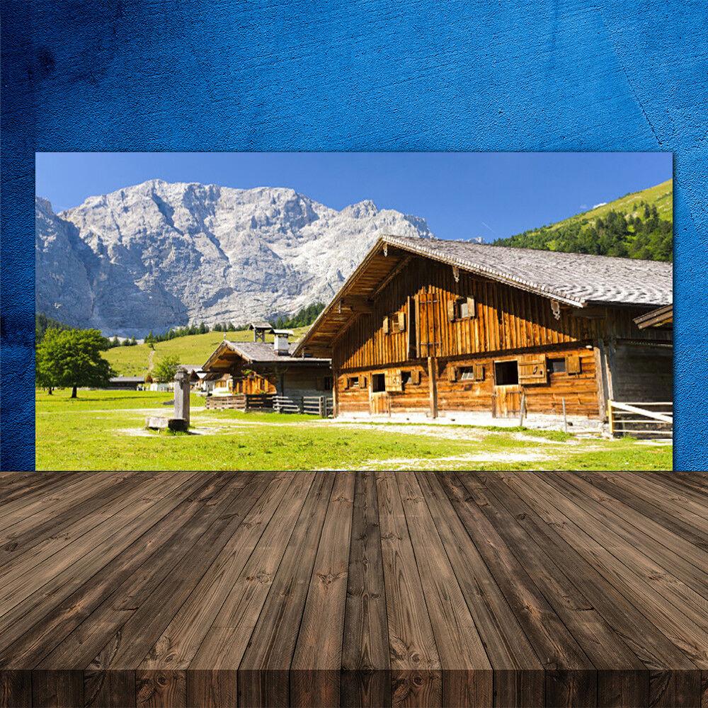 Crédence de cuisine en verre Panneau 120x60 Paysage Maison Montagnes