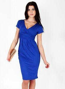 Dettagli su vestito abito tubino donna blu elettrico elegante evento party festa 3220