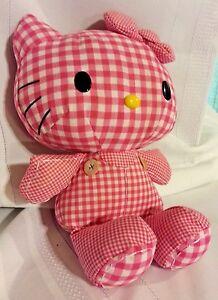 """fbe33fe7e 2010 Sanrio HELLO KITTY 11 ½"""" Plush Pink White Plaid Checkered ..."""