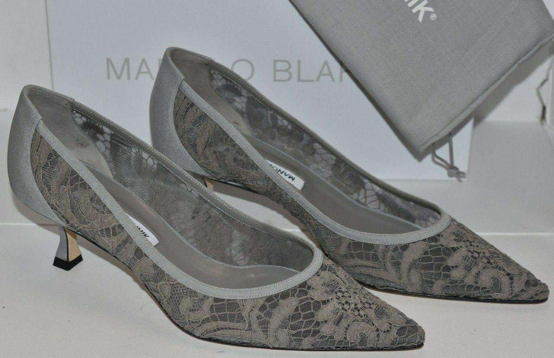 NEW Manolo Blahnik SRILA Lace Grey Kitten Heels Pumps BB 39.5 40 40.5 41