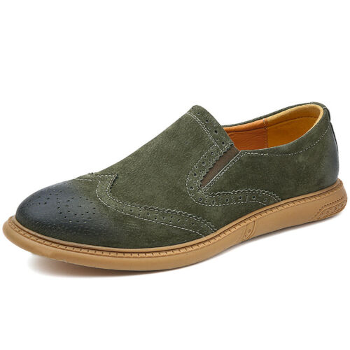 Details about  /Brogue Mens Low Top Leather Shoes Carved Wing Tip Slip on Business Work Casual