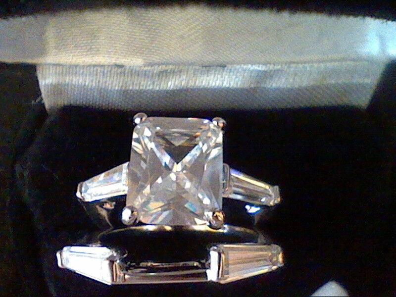 7.50ctw RADIANT EMERALD & BAGUETTE LCS DIAMOND ENGAGEMENT WEDDING RING SET SZ 9