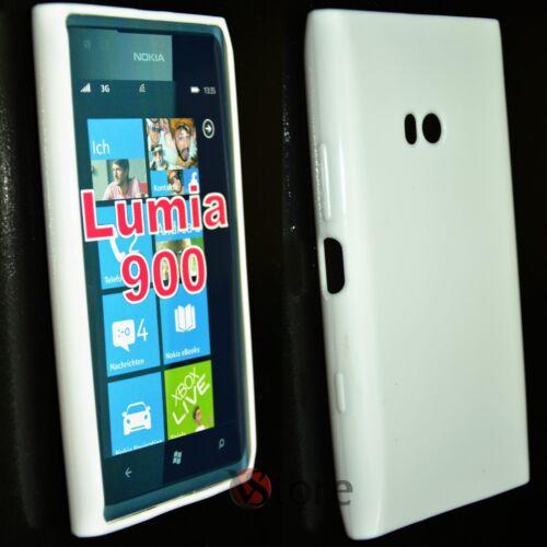 Cover Custodia Per Nokia Lumia 900 Bianco Pastello Gel Silcone TPU + Pellicola