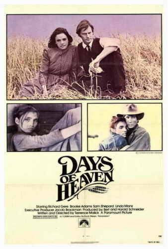 DAYS OF HEAVEN Movie POSTER 27x40 Richard Gere Brooke Adams Sam Shepard Linda