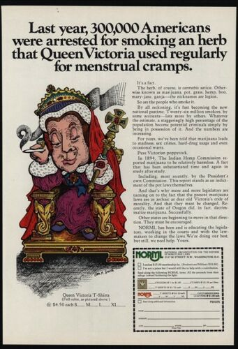 Queen Victoria Smokes Pot 1975 NORML VINTAGE AD Marijuana Legalization