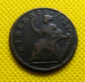 1723-WOOD-039-S-HIBERNIA-Choice-Half-Penny-Rare-Colonial-Coin-VERY-BOLD-DETAIL