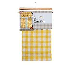 yellow 3 piece window curtain set plaid check cotton rich 1 valance