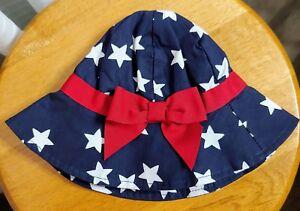 Gymboree Baby Sun Bonnet Hat July 4th Patriotic red white blue stars ... fc59271dbe0f