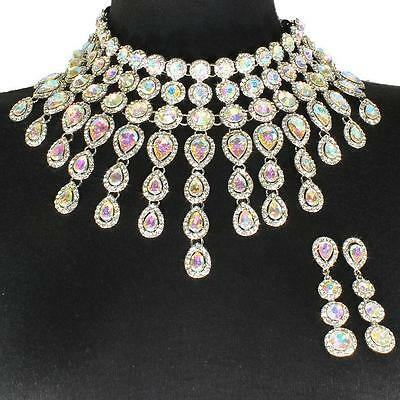 Silver Aurora Crystal Choker Necklace Set Elegant Formal Prom or Wedding Jewelry