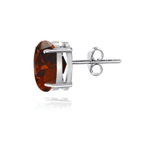 Sterling Silver Garnet 8x6mm Oval Stud Earrings