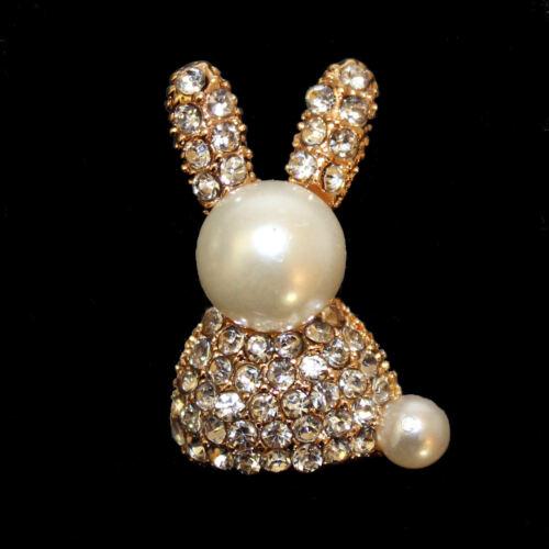 doré strass blanc 34 x 22 mm Bouton avec lapin perle env