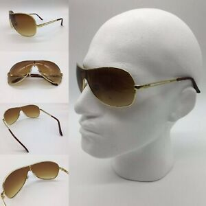 Men's Brown Tint Lens Gold Metal Frame Shield Visor Sunglasses 100% UV 400