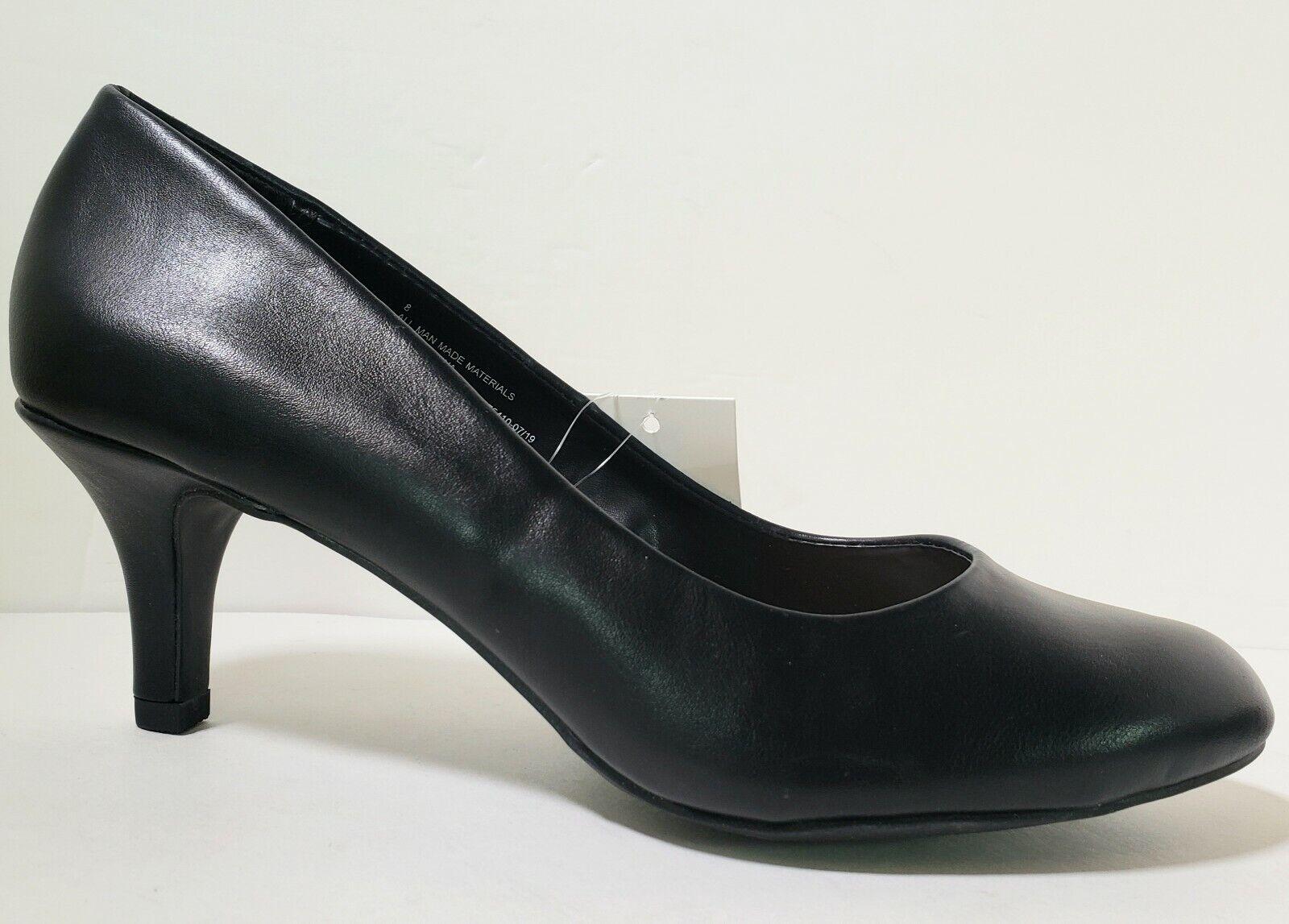 Black Mid/Low Heel Business Pump Women Shoe Size 8 Faux Leather A new Day Jinny