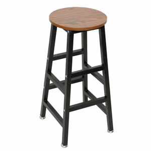 Astounding Details About Wooden Round Bar Stool Vintage Pub Seat Metal Frame Wood Top Chair Us Stock Machost Co Dining Chair Design Ideas Machostcouk