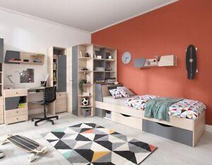 Details Zu Jugendzimmer Kinderzimmer Komplett Davis Set C Eckschrank Schreibtisch Bett Led