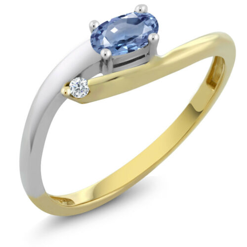 18K Two Tone Gold 0.27 Ct Oval Blue Sapphire with Diamond Accent Ring