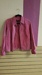 Dress-bleather-jacket-suede-pink-revue-with-lining-small-nice-good-condition