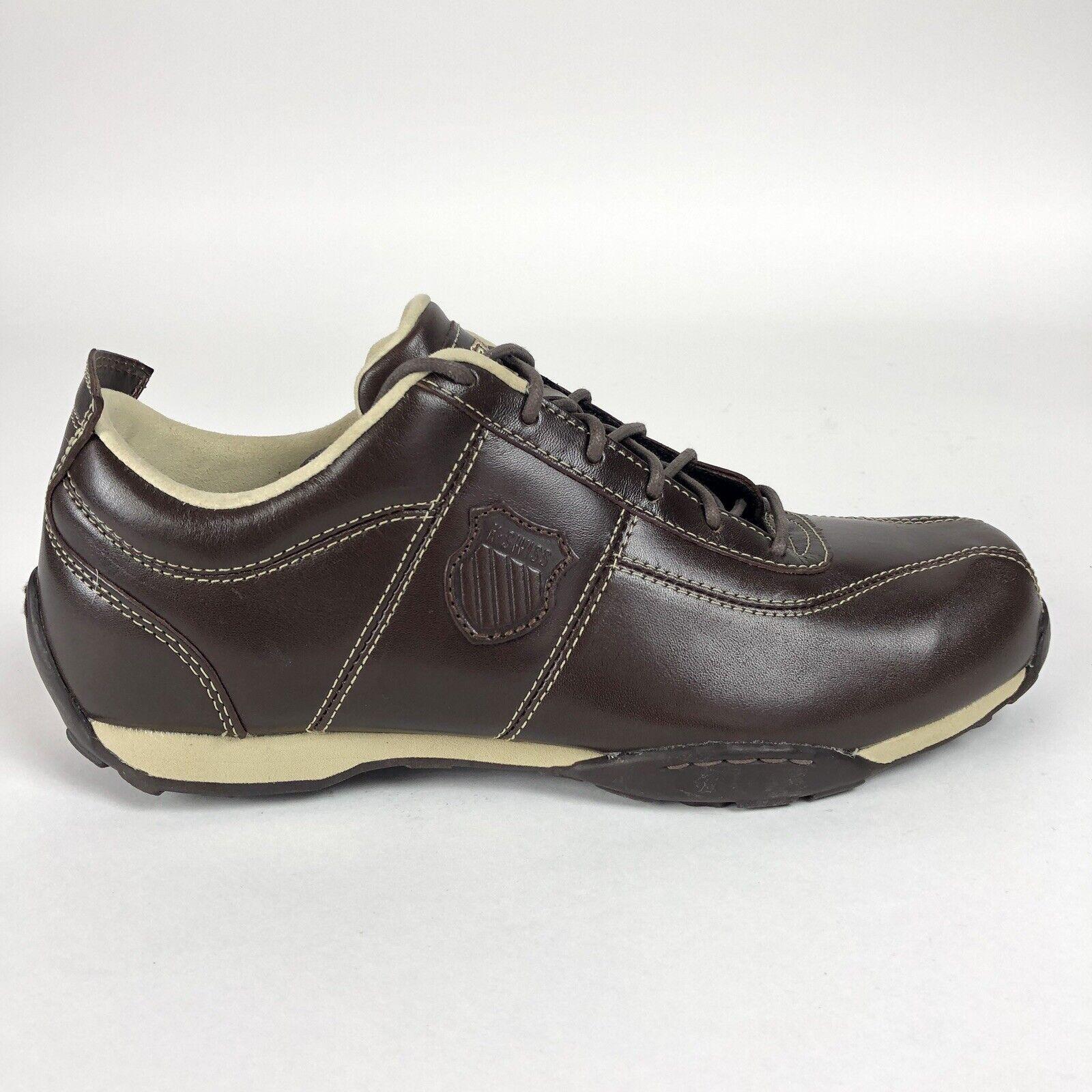 K Swiss Homme 8.5 Borel Chaussures Marron Beige Low Top Baskets Rétro 01253296