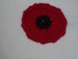 Hand Knit Poppy Brooch In Red With Black Centre Bnwot Ebay